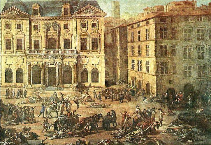 La peste bubónica mató a decenas de miles de personas en Marsella, Francia. El cuadro 'Vue de l'Hôtel de Ville Gravure', de Michel Serre, plasma la magnitud de la tragedia. (paginasdigital.es)