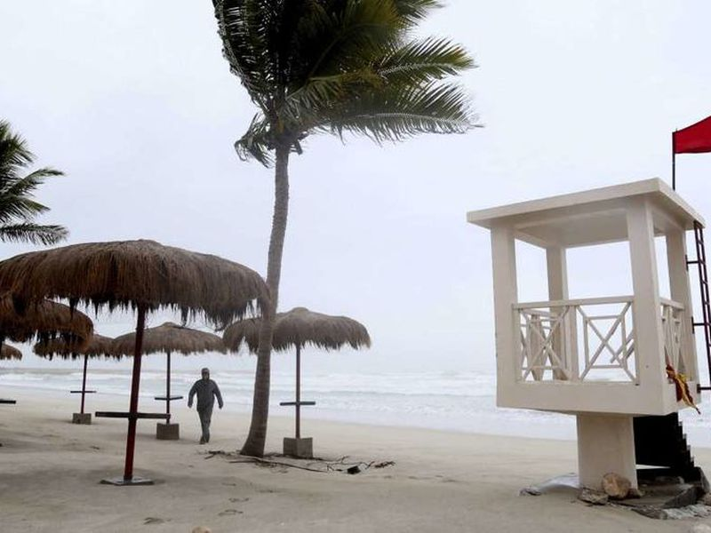 Many holidaymakers fled the storm Thursday night before Salalah International Airport closed. (AP)