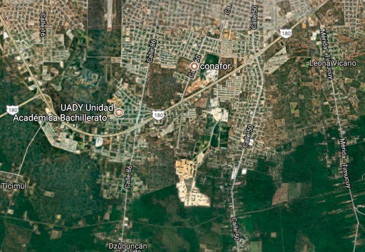 En el sur de la ciudad, cerca de las colonia Emiliano Zapata Sur, 400 personas invadieron un terreno. El problema de los paracaidistas no está aún solucionado en la ciudad de Mérida. (Google Maps)