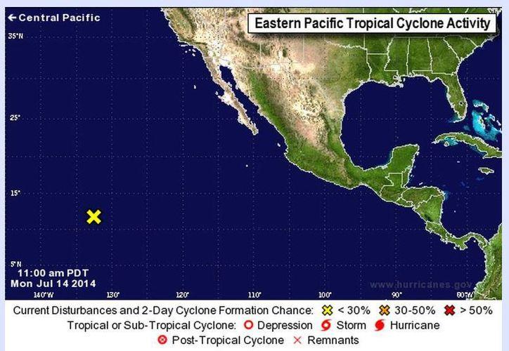 El sistema se encuentra al suroeste de Cabo San Lucas, Baja California Sur. (nhc.noaa.gov)