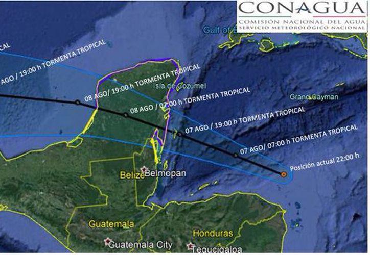 Los vientos de Tormenta Tropical se extienden hasta 220 kms, del centro a la periferia del sistema. (Conagua)