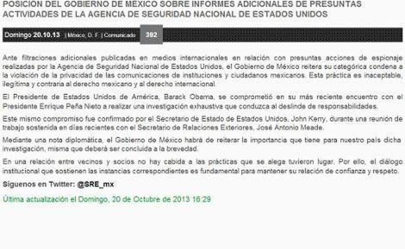 Posición del gobierno de México sobre informes adicionales de presuntas actividades de la Agencia de Seguridad Nacional de Estados Unidos. (Milenio)