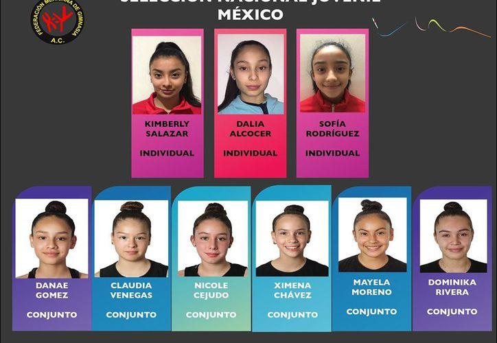 El equipo mexicano. (Foto: Imagen tomada de la Federación Mexicana de Gimnasia)