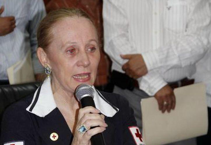La delegada de la Cruz Roja Mexicana, Michelle Byrne de Rodríguez, subrayó que es un aliciente el apoyo de la SSE. (Juan Albornoz/SIPSE)