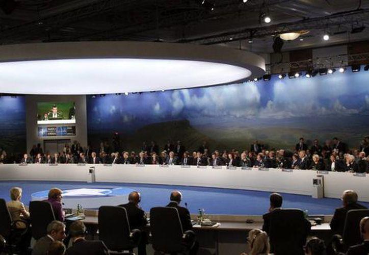 Vista general de la segunda jornada de la cumbre bianual de la OTAN que los líderes de la alizanza. (EFE)