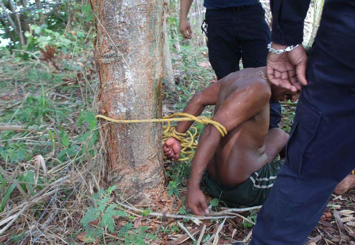 Los oficiales lo desataron y lo llevaron detenido ante un juez calificador quien le dictaminó arresto por 36 horas. (Foto: Redacción/SIPSE)