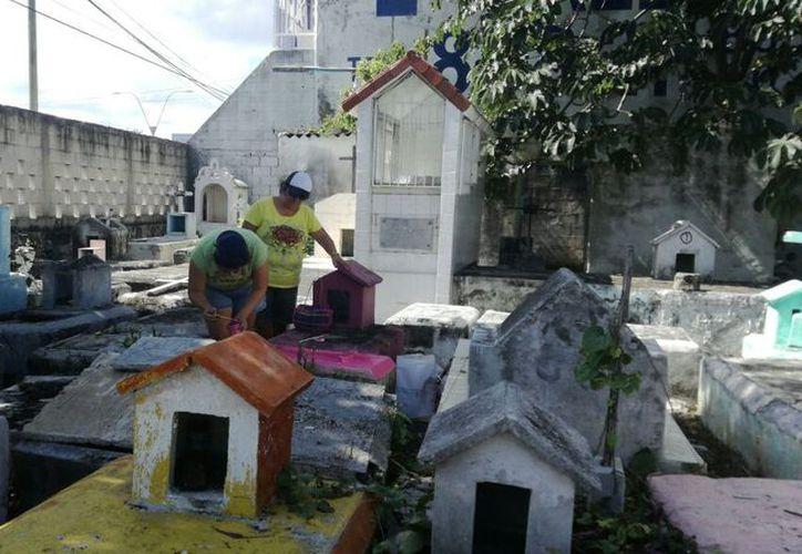 Los familiares acuden a limpiar y pintar las tumbas. (Pedro Olive/SIPSE)