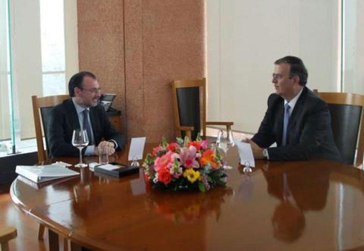 El canciller Luis Videgaray se mostró animoso en la reunión con Marcelo Ebrard. (Foto: twitter: @LVidegaray)