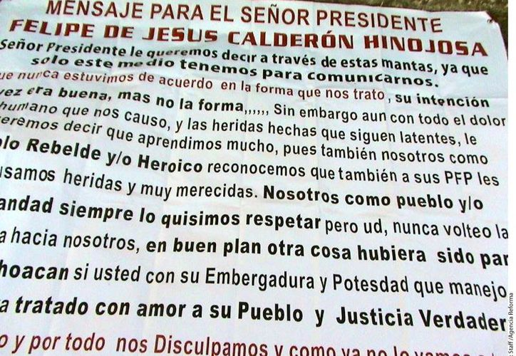 El mismo cártel dejó un mensaje de 'despedida' a Felipe Calderón. (Reforma)