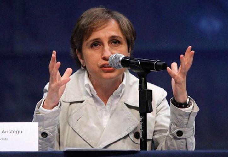 La periodistas Carmen Aristegui está de nuevo en el centro de la polémica: la empresa para la que trabaja, MVS, despidió, sin consultarle, a dos de sus colaboradores. (Archivo/NTX)