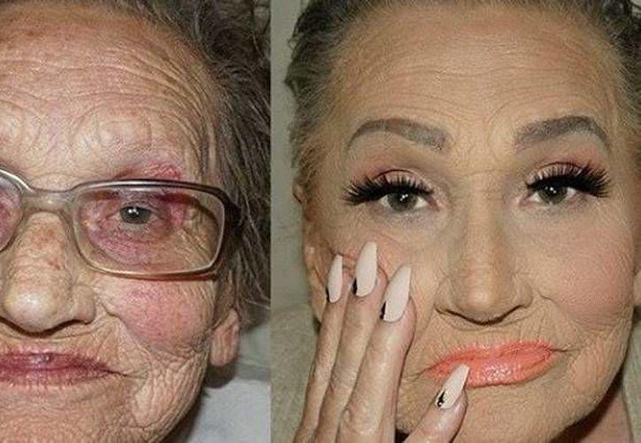 Una señora de 80 años 'tragó' muchos años gracias a la técnica de maquillaja llamada 'contouring'. (Fotos tomadas de instagram)