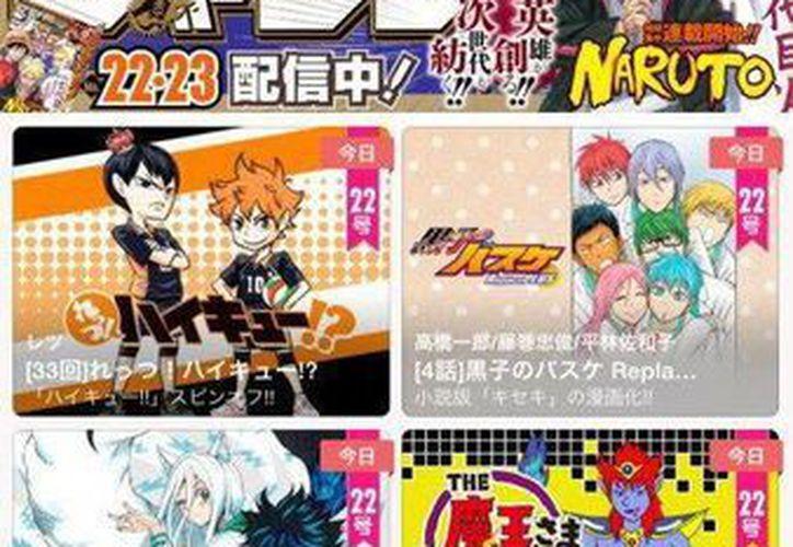 Imagen facilitada por la Editorial Shueisha de una aplicación móvil dedicada al manga. (EFE)