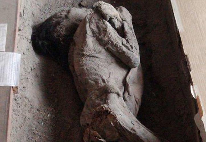 Una de las momias que se exhibe en el Museo Antropológico Municipal de Quillagua, en Chile. El pueblo está ubicado en pleno desierto de Atacama. (EFE)