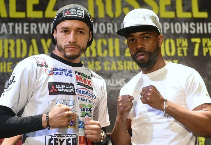 González y Russell Jr. se encontrarán en el Palms Resort & Casino de Las Vegas, Nevada, este sábado. (Notimex)