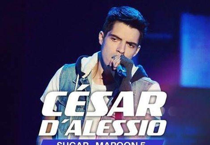 Cesar D' Alessio interpretando 'Sugar' en 'La Voz México' 2016 la cual se llevo acabo este domingo pasado (Milenio/La Voz México)