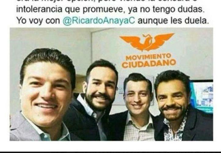 En el tuit falso, Derbez aparece con los candidatos de la coalición Por México al Frente, Samuel García, Luis Donaldo Colosio y Agustín Basave. (Vanguardia)