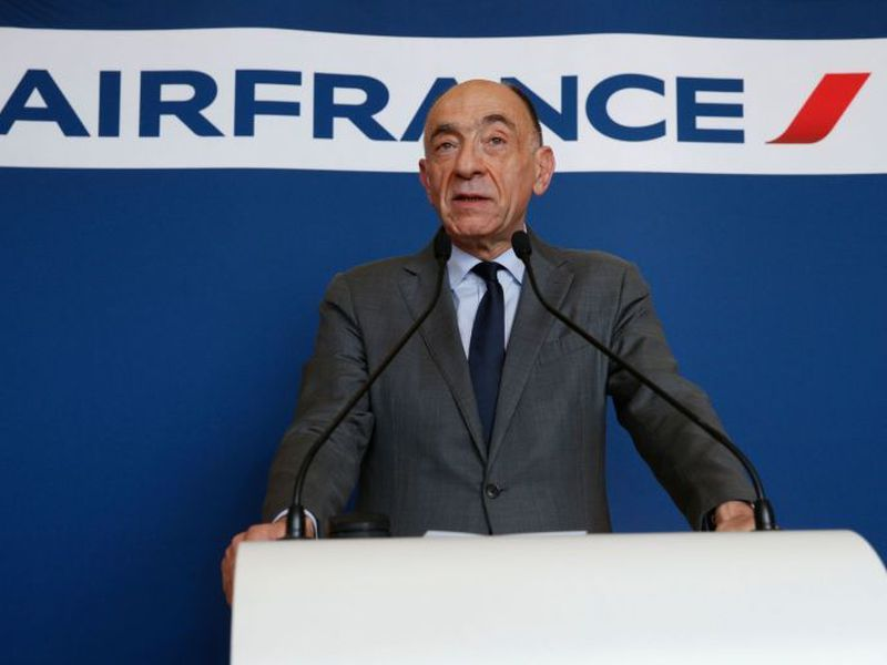 Janaillac speaking during a press conference as he announces his resignation. (AFP)