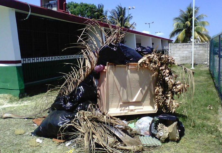 El contenedor de la escuela luce atiborrado de bolsas negras y otros desechos. (Harold Alcocer/SIPSE)