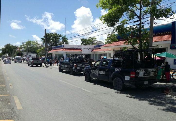 Los elementos de la Policía Ministerial investigan al grupo de ladrones. (Eric Galindo/SIPSE)