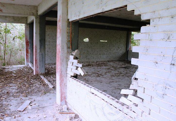 Lo que antaño eran unas majestuosas instalaciones de nueve aulas, tres talleres, un laboratorio y canchas deportivas, para albergar una matrícula de 300 estudiantes, en la actualidad es un conjunto de edificios abandonados y enmontados que luce  deprimente. (Edgardo Rodríguez/SIPSE)