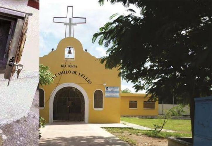 El sábado 29 de octubre, unos ladrones se llevaron el Sagrario (recuadro) de la rectoría de San Camilo de Lelllis. Este jueves se realizaron varias misas al respecto. (SIPSE)