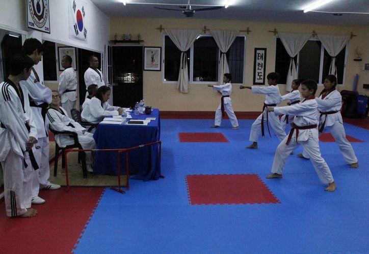 Alumnos de Ji Do Kwan Yom Chi dejaron todo sobre el tatami durante su evaluación.  (Ángel Mazariego/SIPSE)