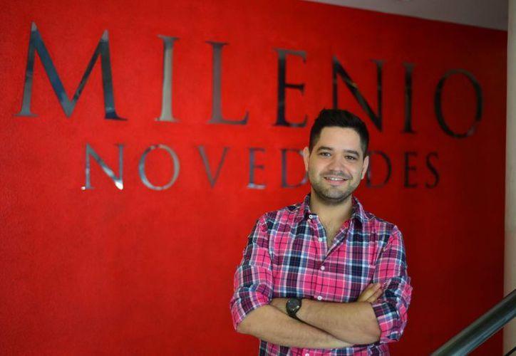 Gabriel Wabi Rueda visitó  las instalaciones de Milenio Novedades para dar los pormenores de la Meme Fiesta. (Luis Pérez/SIPSE)