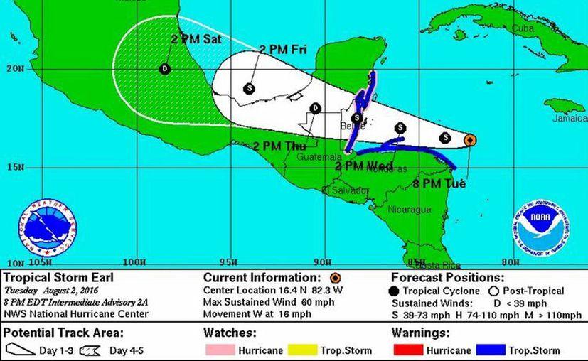 El miércoles por la mañana, la tormenta tenía su centro unas 195 kilómetros al este de Roatán. (Notimex)