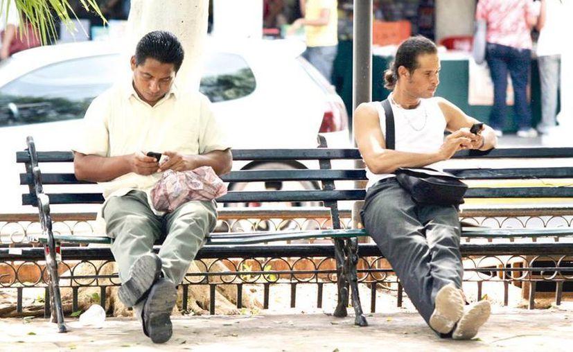 Muchas personas que acuden a descansar al parque hacen uso de la tecnología. (Milenio Novedades)