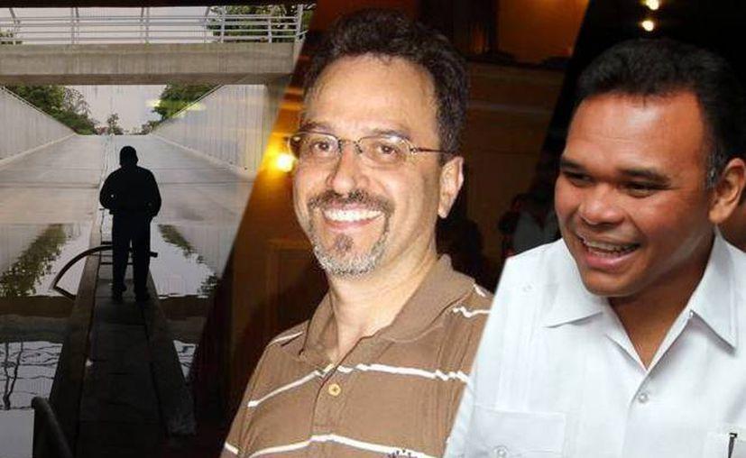 De izquierda a derecha: una de las inundaciones en el llamado 'paso deprimido'; el exdirector de la OSY, Fernando Luna Guarneros, asesinado en noviembre, y Rolando Zapata Bello, quien este año viajó a China para una gira de trabajo. (SIPSE)