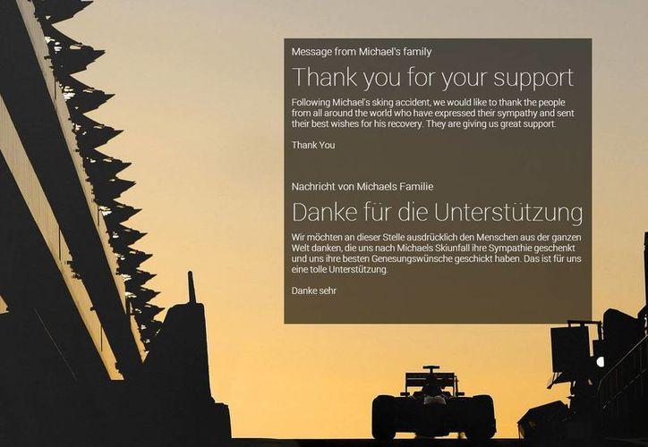 La familia de Schumacher publicó en la página web del piloto un mensaje de agradecimiento por apoyo que han recibido. (michael-schumacher.de)