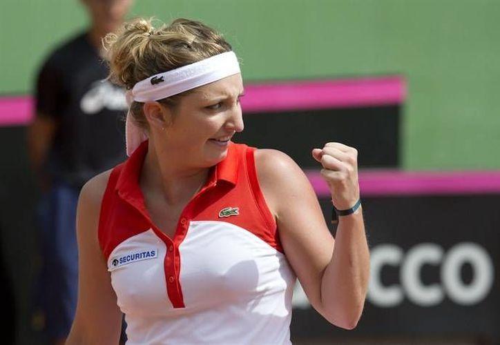 Timea Bacsinszky (foto) y la rusa Vera Zvonareva eliminaron a dos mexicanas en dobles en el Abierto de Monterrey. (itftennis.com/Foto de archivo)