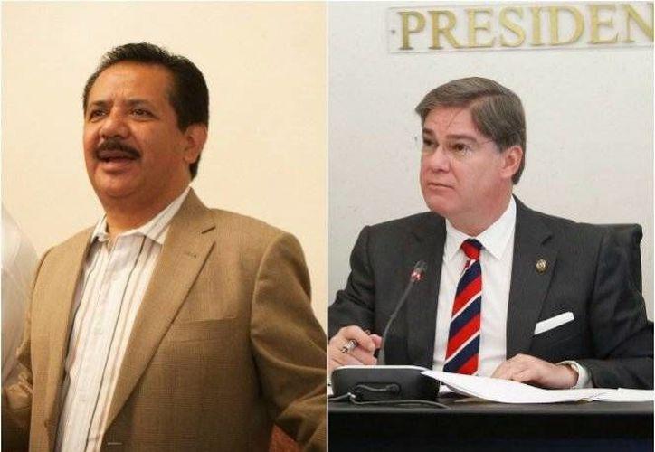 Los senadores Luis Sánchez Jiménez y Fernando Mayans, envueltos en una polémica al referirse a sus 'derechos de los usuarios de trata', durante una sesión en el Senado. (Foto de archivo/Excélsior)