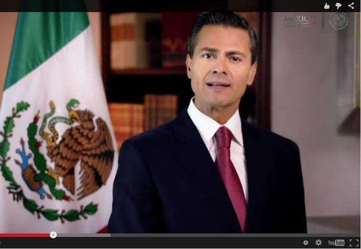 El presidente Enrique Peña Nieto durante su mensaje a la nación con motivo del Año Nuevo. (SIPSE)