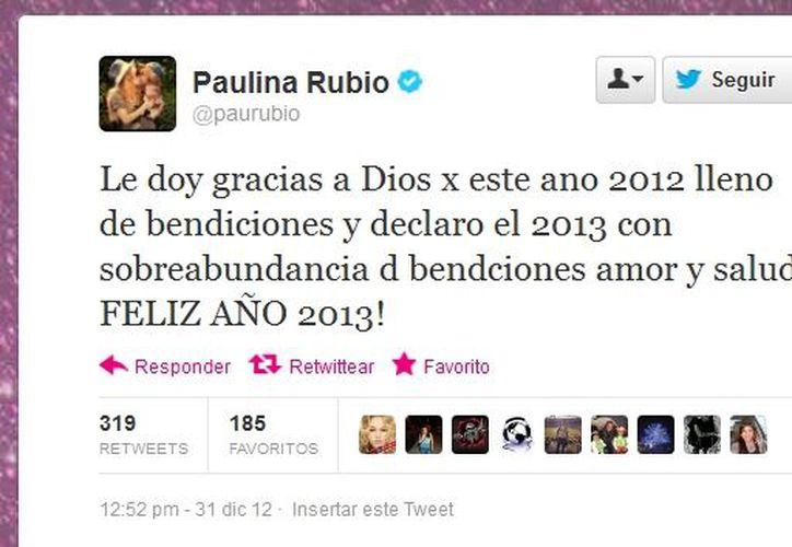 La 'Chica Dorada' envió sus felicitaciones por Twitter. (@paurubio/Twitter.com)