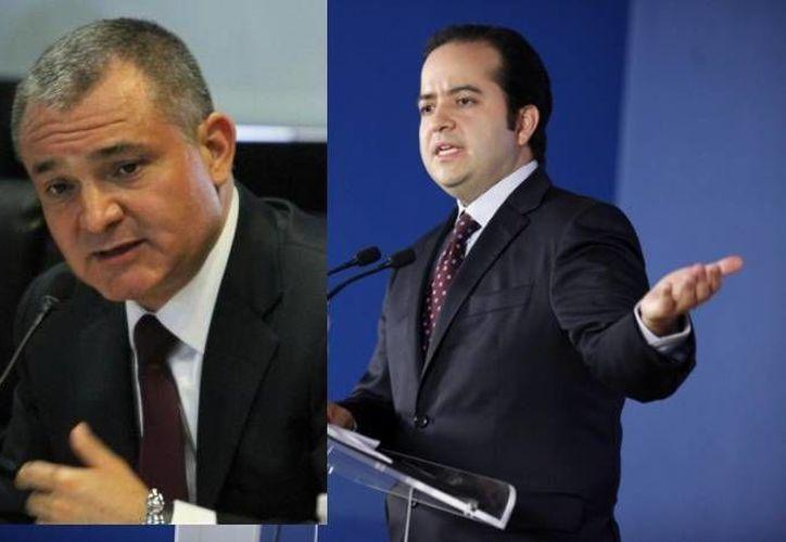 Genaro García Luna (i) y Alejandro Poiré, hoy denunciados, trabajaron durante la administración de Felipe Calderón. (Agencias/Archivo)