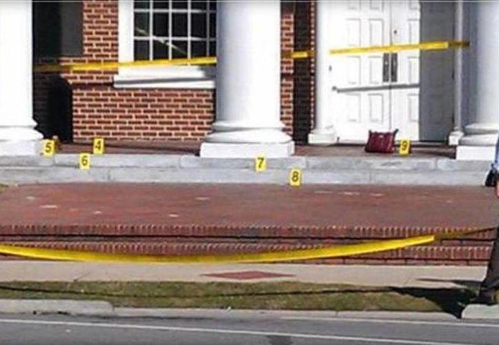 Escena fuera de la corte del condado de Nash donde se realizó el tiroteo. (CBS AFFILIATE WRAL)