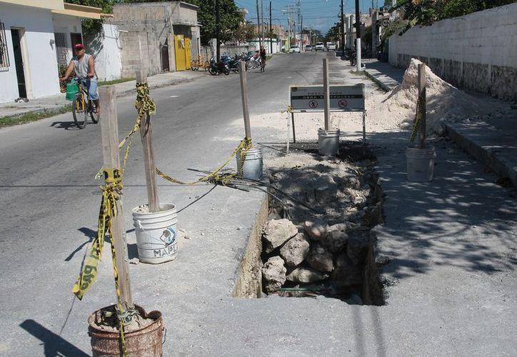 Los trabajos de ampliación del sistema de drenaje pluvial está inconcluso. (Julián Miranda/SIPSE)