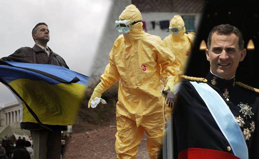 De izquierda a derecha: las manifestaciones en Ucrania que derrocaron al presidente Víktor Yanukóvich, un trabajador de salud que lucha contra el ébola en África, y la proclamación del nuevo rey de España, Felipe VI. (SIPSE)