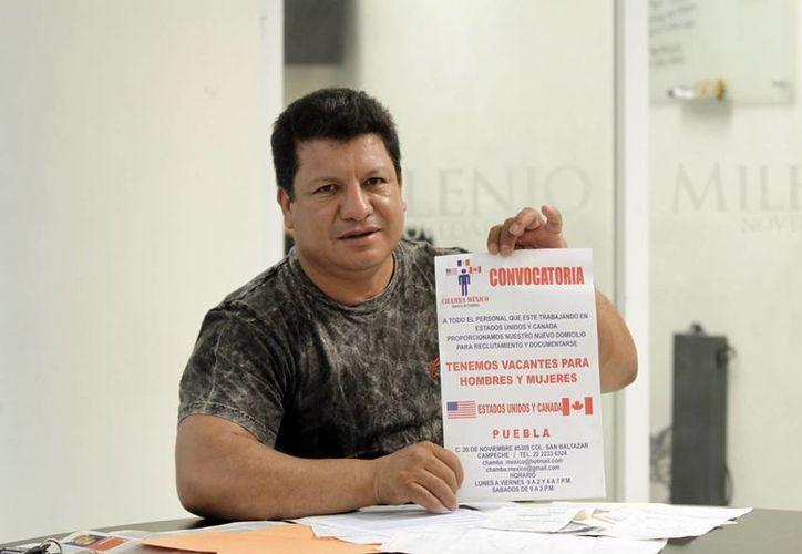 """Joaquín Neria Díaz, supuesto representante de """"Chamba México"""" en su visita a redacción de MILENIO NOVEDADES en enero pasado. (Archivo SIPSE)"""