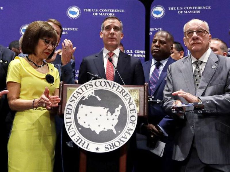 Los Angeles Mayor Eric Garcetti addresses a gathering during the annual meeting of the U.S. Conference of Mayors in Boston. (AP)