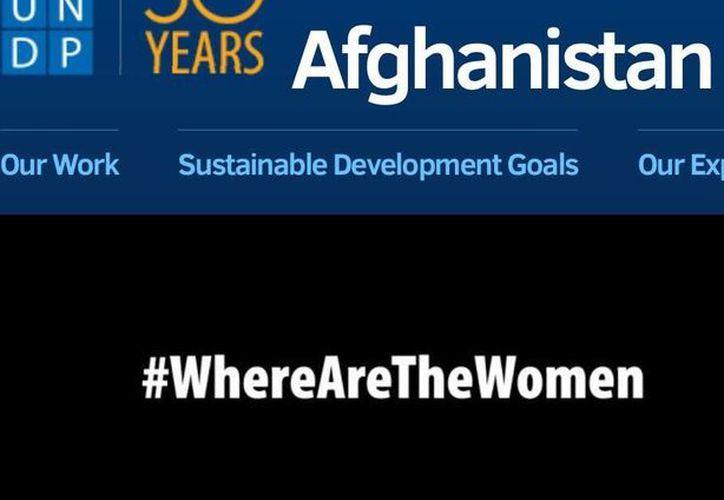 Portal Web del Programa de Desarrollo de la ONU en Afganistán sustituirá fotos por un <i>hashtag</i> alusivo al Día de la Mujer. (Twitter)