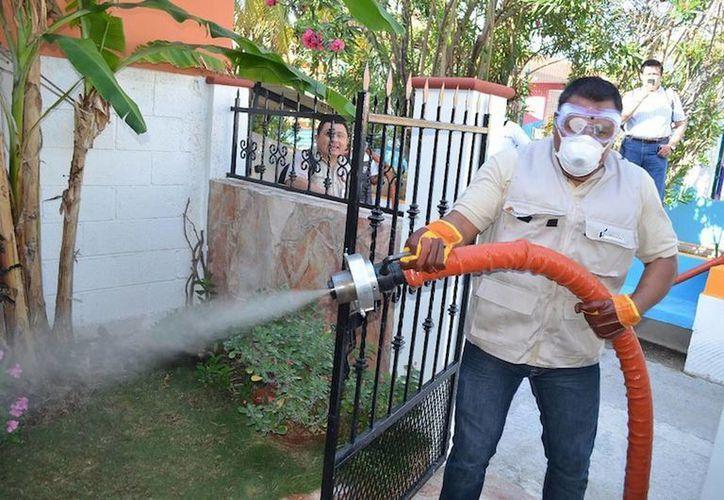 La nebulización se realiza casa por casa con una máquina pesada tipo London Fog. (Cortesía/SIPSE)