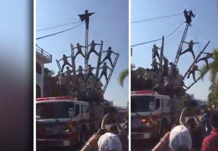 En el video se puede apreciar cuando pierden el equilibrio realizando acrobacias. (Foto: Captura de  pantalla)