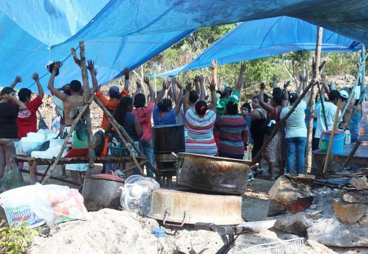 Los cerca de 400 invasores afirman que no opusieron resistencia cuando los policías les decomisaron sus herramientas de trabajo.  (Daniel Pacheco/SIPSE)