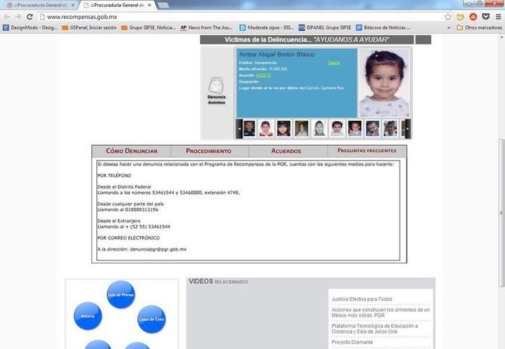 Imagen tomada del portal de la PGR donde se informa del programa de recompensas para desaparecidos. (SIPSE.com)