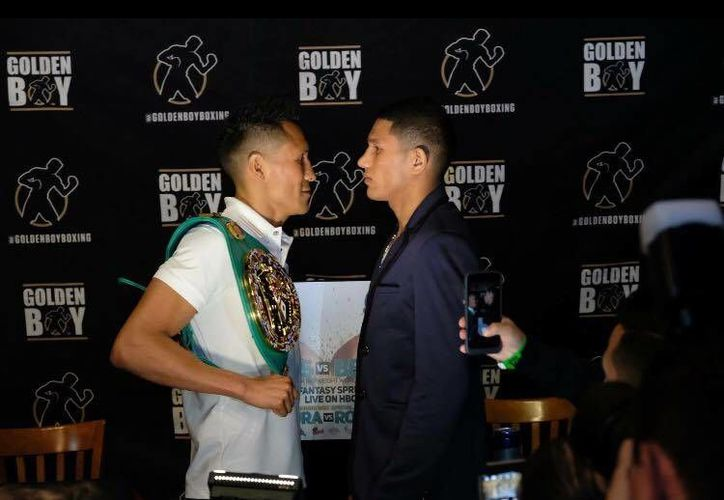 Francisco Vargas (i) y Miguel Ángel Berchelt pelearán por el campeonato Súper Pluma de la OMB, el próximo sábado, en California. (Foto tomada de Facebook/Miguel Berchelt)