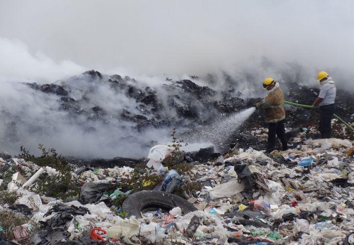 Bomberos comenzaron con la tarea de sofocar el fuego en el centro del tiradero. (Foto: Ángel Castilla/SIPSE)