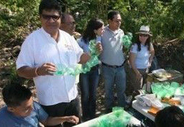 Con este árbol también se pretende enseñar a las familias benitojuarenses a fabricar figuras con material reciclable. (Cortesía/SIPSE)