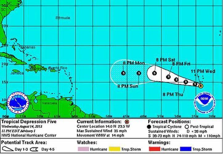 La depresión tropical seguirá una trayectoria que podría llevarla al Mar Caribe. (SIPSE)